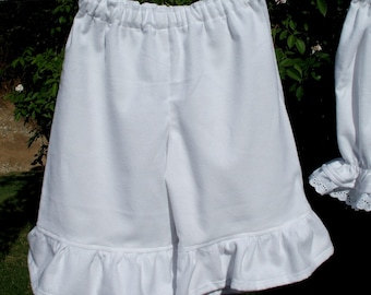 Bohemian Palazzo Pantaloons Toddler or Baby Cotton Flannel Ruffled Bloomers Custom made