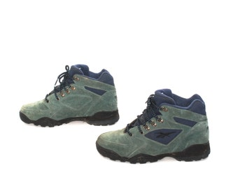 size 8 REEBOK green suede leather 80s 90s GRUNGE HIKING lace up ankle boots