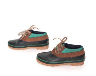 size 9 WATERPROOF green blue rubber 80s 90s RAIN galoshes lace up ankle WEATHERPROOF boots