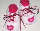 Bird Baby Booties / Girls Felt Shoes / New Baby Gift