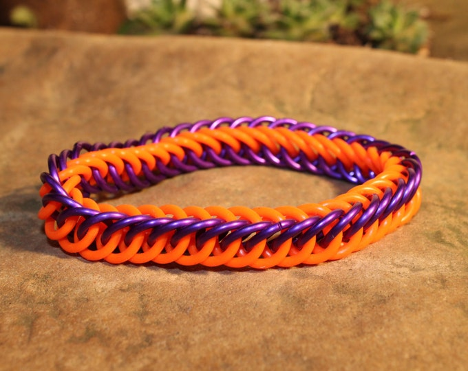 Glow-in-the-dark Orange and Purple Half Persian Chainmaille bracelet