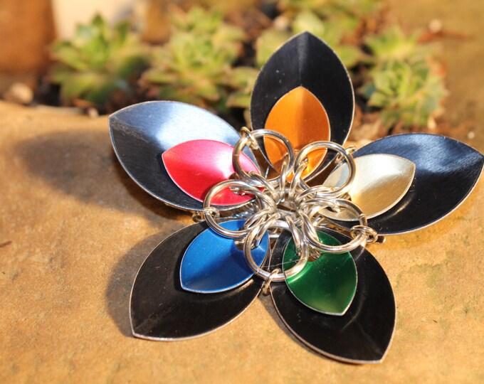 Faerie Flower Hair Clip - Rainbow on Black