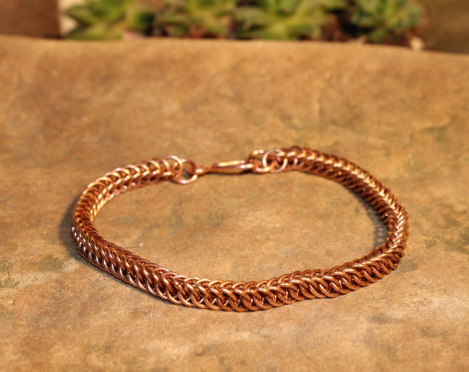Copper Half Persian Chainmaille bracelet (thin)