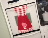 Valentine Hanging Dish Towel Dress in Red, Pink and White - Be Mine