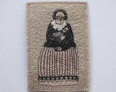 woman and child - portrait of a woman in striped skirt - embroidery artwork