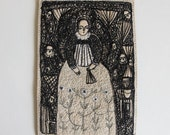 portrait of a fine dreamer woman - embroidery artwork