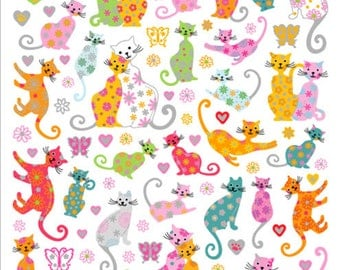 Flower Kitties Sticker • Kitty Cat Sticker • Kitten Sticker • Cat Lover • Pet Lover • Kitty Cat Birthday • Cat Birthday Party (SK4189)