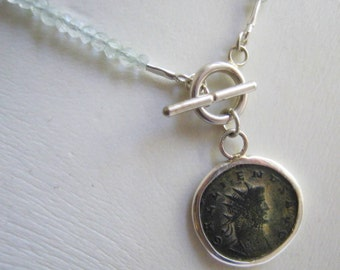 Antique Late Roman coin pendant on an Aquamarine bead necklace ancient coin jewelry