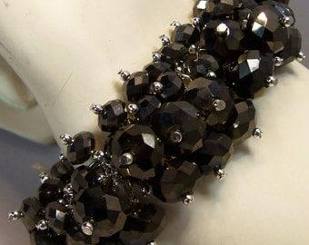 Gorgeous Large Austrian Crystal Cha Cha Bracelet in Smoky Dark Brown