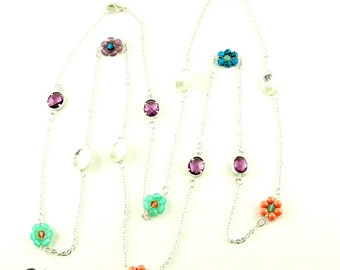 Long Matte Silver Chain Necklace with Pink, Aqua and Lilac beaded Flowers and Matte Silver Charms (N73)