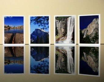 Romantic Yosemite - 3.5 x 5 photo cards set prints with blank cards and envelopes, rainbow waterfall blue sky mountain landscape photography