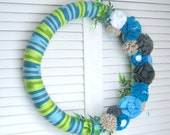 "Blues - 18""  Flower Wreath  - Home Decor - Door Decor - Wall Decoration- Nursery Room - Kids Children Room- READY TO SHIP"