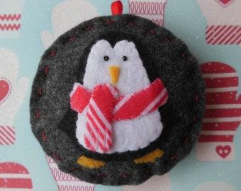 Felt Penguin Christmas Ornament - Cozy Winter Penguin No. 9 - SALE
