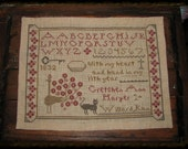 Primitive Cross Stitch Early Look Gretchen Anns Sampler PDF ePattern Instant Download