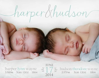 TWINS Photo Birth Announcement - Name BABY ANNOUNCEMENT - Printable, Digital, Modern, Custom, Simple - Photo Baby Announcement - Twin