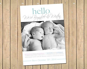 TWINS Photo Birth Announcement - Hello Twin Birth ANNOUNCEMENT - Baby Boy - Baby Girl -  Printable, Digital - Photo Baby Announcement - Twin