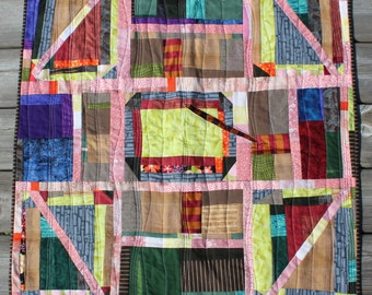 Heirloom Baby, Art Quilt, Blanket, Throw - Caveman Churn Dash