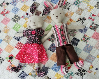 Instant Download Make Your Own Mr. and Mrs. Bunny Toys With 4girlsdesigns Original PDF Sewing Pattern