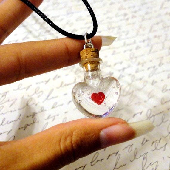 Zelda Heart Container Necklace: Zelda Heart Container Potion Bottle Charm Necklace