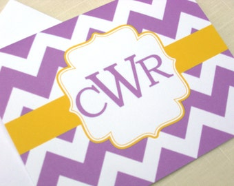 Monogrammed Note Cards - Set of 8 Chevron Purple and Yellow