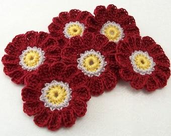 Crochet Burgundy Flower Appliques X 6