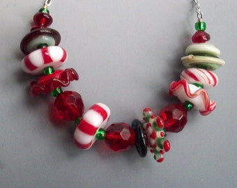 Peppermint Lampwork Bead Necklace Christmas Holiday