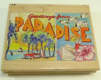Greetings From Paradise Wood Mounted Rubber Stamp by All Night Media