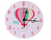 Pink Hot Air Balloon Girls Personalised Clock