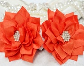 New! 2pcs Handmade fabric flowers--orange (FB1027)