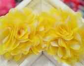 New! 2pcs Handmade Satin Fabric Mesh Flowers--yellow/white (FB1051)