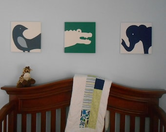 Safari Animal Nursery Art Canvas Hand Painted Set of 3 Blue green neutral choice of color  Alexander Henry inspired