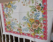 Vintage Table topper, Retro cotton floral table cloth, table cover, All cotton tablecloth with flowers, grandmas kitchen table topper, LL9
