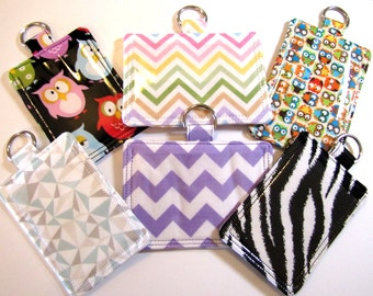 Teacher Gift ID Pouch Badge Holder w/ Back Pocket to Hang From Your Lanyard Horizontal or Vertical, Badge Holder, ID Badge Holder