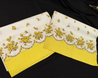 Pair of Vintage Yellow and White Floral Feedsack Border Print Pillowcases