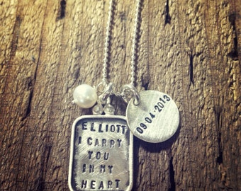 i carry your heart with me   - Sterling Silver Charm  -Simag