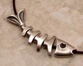 Worry Fish Bones Pendant, Antiqued Pewter, 6 Parts, M336