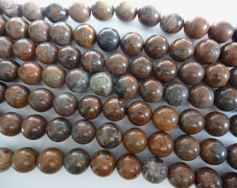 7 1/4 inch Natural Snakeskin Jasper Stone Beads by Darice 14mm Round A662