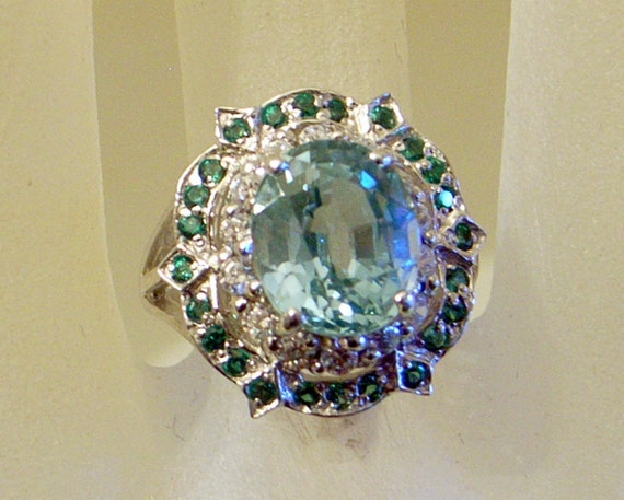 Vintage Paraiba Green Tourmaline Ring Sterling Silver 6 5