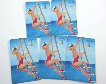 Vintage Pin Up Girl Playing Cards with Sexy Blonde Lady in Red Bathing Suit Heels Sailor Cap Rope Ladder Cutty Sark Scots Whisky Set of 5