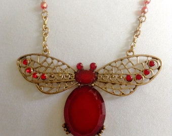 Sale .. BUTTERFLY red color beaded antique gold tone amazing oversized necklace large acrylic cabochon hip fantasy girl rock doll