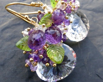 Crystal quartz, peridot earrings in gold vermeil - amethyst cluster earrings - short dangle - purple, green - gemstone jewelry - wire wrap