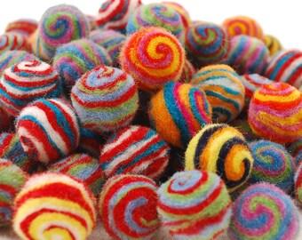 2cm - 100% Wool Felt Balls - 100 Count - Assorted Striped / Swirl Felt Balls