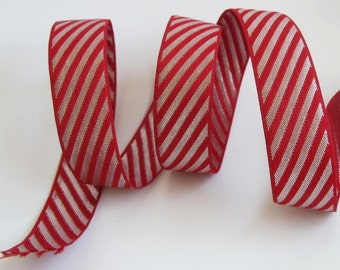 3 yards CANDY STRIPE Reversible Jacquard trim. Red and silver. 1 inch wide. 237-B