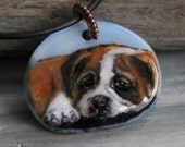Baby Boxer/Bulldog necklace- fused glass pendant - dog jewelry- puppy