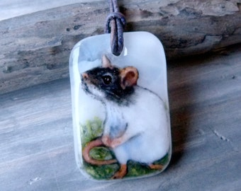 Rat in the garden necklace, fused glass pendant