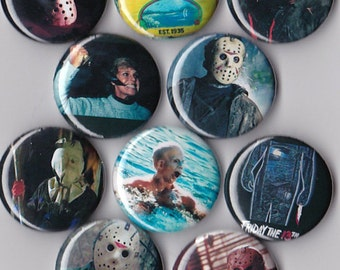 10 Friday the 13th Pinback Buttons