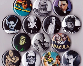 14 Classic Horror Movie Buttons Universal Monsters
