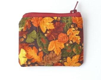 autumn mini zipper pouch. orange brown leaf fall small coin purse. cute small gift. ear bud case