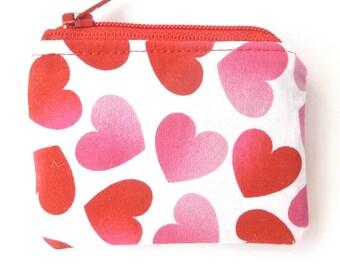 small valentine gift. pink red tiny cute zipper pouch. fabric change purse. small gift idea under 5. tween teen teacher gift