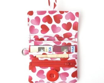 valentine teen girl gift. womens wallet card case. pink heart fabric card organizer. ladies small wallet. pink red zipper pouch